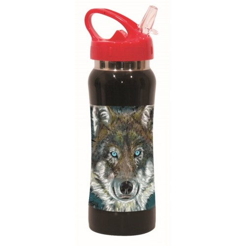 PAGOURI STAINLESS STEEL 580ML ANIMALS NO FEAR - FLUP WOLF